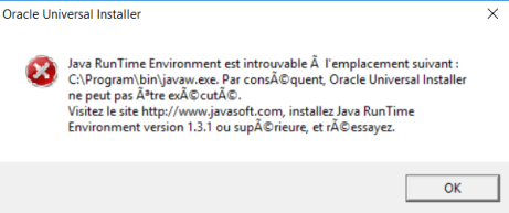 Error – The Java RunTime Environment was not found at \bin\javaw ...